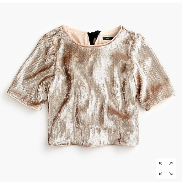 2d1956f7b8c52a J. Crew Cropped sequin top in rose gold NWT